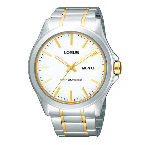 Lorus - Men's silver analogue dial striped bracelet watch