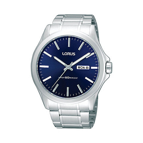 Lorus - Men+s silver oversized dial bracelet watch rxn65cx9