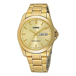 Lorus - Men's gold analogue dial bracelet watch