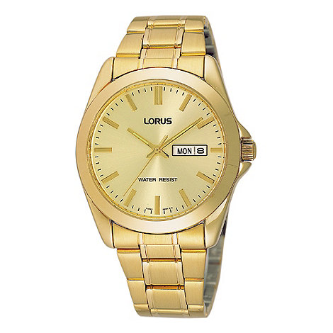 Lorus - Men+s gold analogue dial bracelet watch rj608ax9