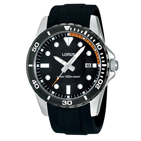 Lorus - Men+s black silicone strap sports watch