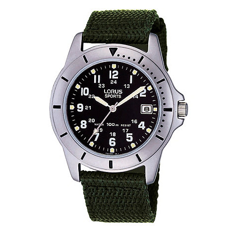 Lorus - Men+s dark green canvas strap sports watch rxh001l9