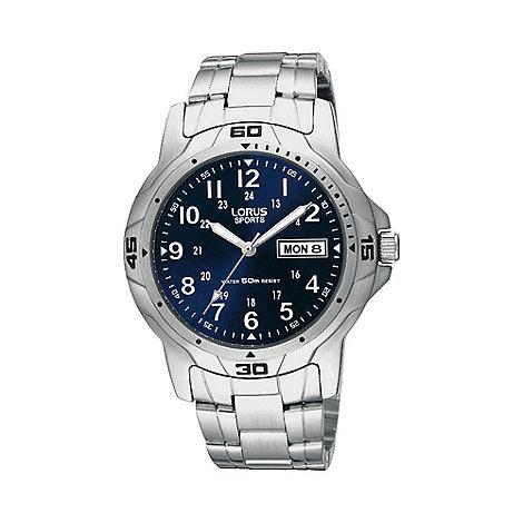 Lorus - Men+s silver geometric bezel bracelet watch