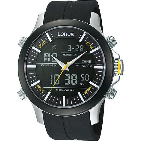 Lorus - Men+s black chronograph dial perforated leather strap watch
