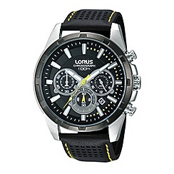 Lorus - Men's black chronograph dial perforated leather strap watch