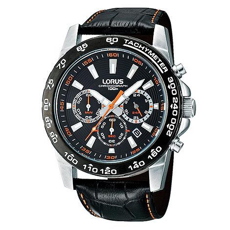 Lorus - Men+s black chronograph dial mock-crocodile strap watch