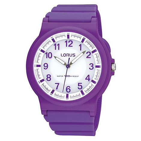 Lorus - Ladies purple analogue dial bracelet watch