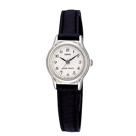 Lorus - Ladies black narrow leather strap watch