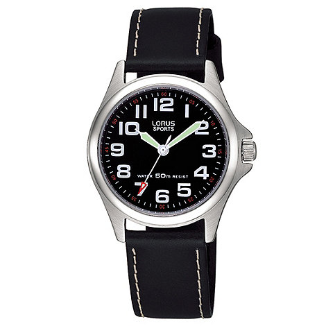 Lorus - Ladies black leather strap watch
