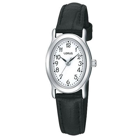 Lorus - Ladies black oval dial mock-crocodile strap watch