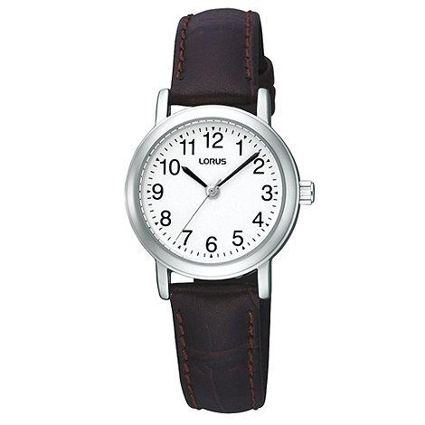 Lorus - Ladies brown mock-crocodile strap watch
