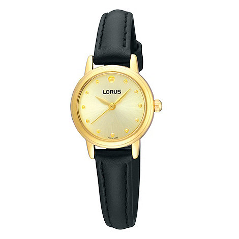 Lorus - Ladies black and gold leather strap watch