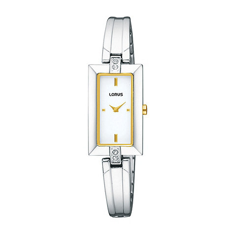 Lorus - Ladies silver rectangular dial bangle strap watch