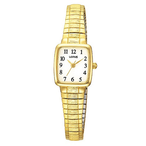 Lorus - Ladies gold square expandable bracelet watch