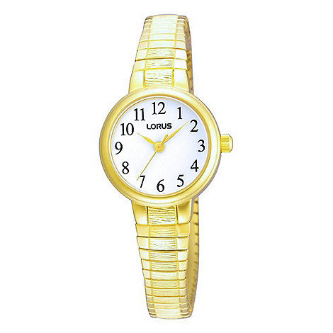Lorus - Ladies gold round expandable watch
