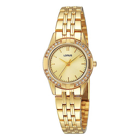 Lorus - Ladies gold round diamante bezel watch