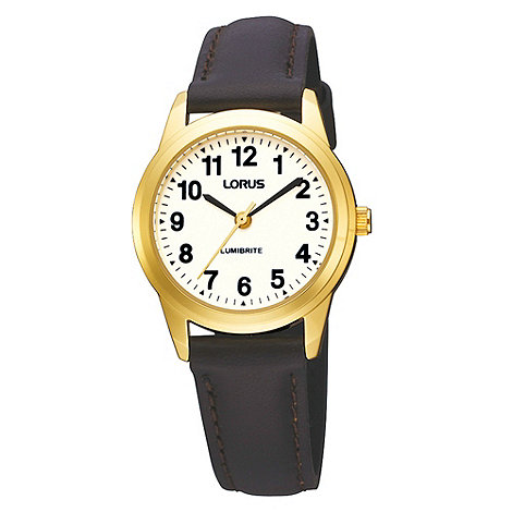 Lorus - Ladies dark brown strap watch