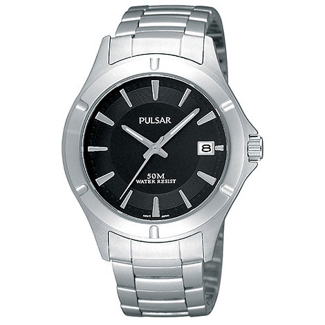 Pulsar - Men+s silver analogue dial bracelet sports watch