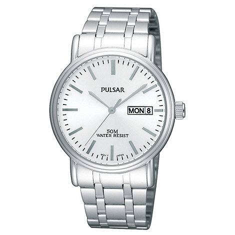 Pulsar - Men+s silver analogue dial mixed plated bracelet