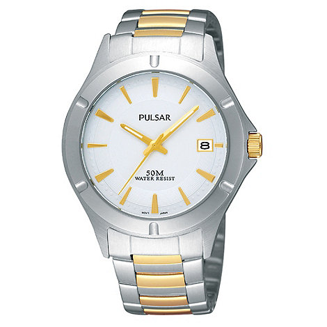 Pulsar - Men+s silver and gold mixed plated strap watch