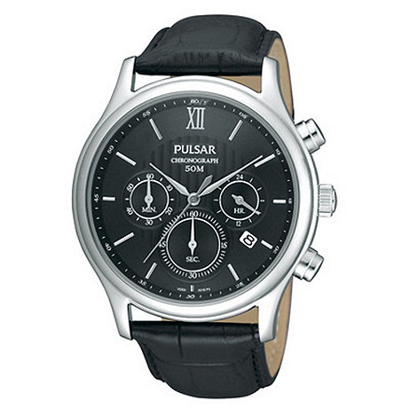 Pulsar - Men+s black chronograph leather strap watch