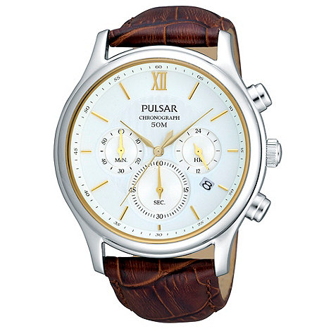 Pulsar - Men+s brown mock-crocodile strap chronograph dial watch