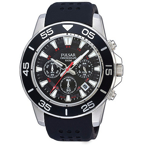 Pulsar - Men+s black chronograph dial silicone strap watch