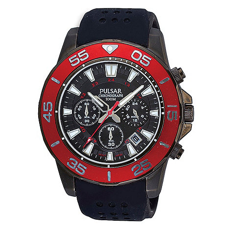Pulsar - Men+s black and red chronograph dial silicone strap watch
