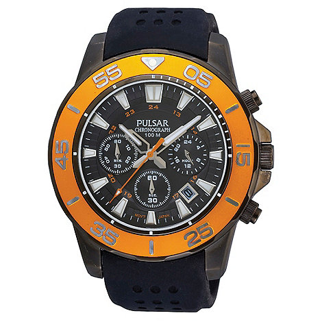 Pulsar - Men+s black and yellow chronograph dial silicone strap watch