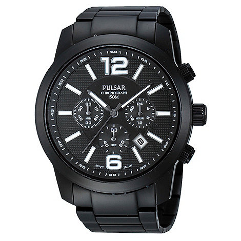 Pulsar - Men+s black chronograph dial bracelet watch