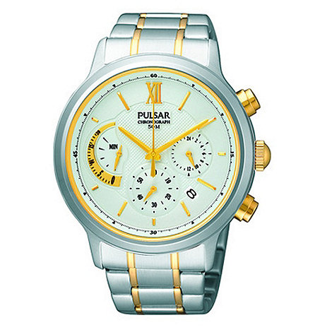 Pulsar - Men+s silver two tone chronograph watch