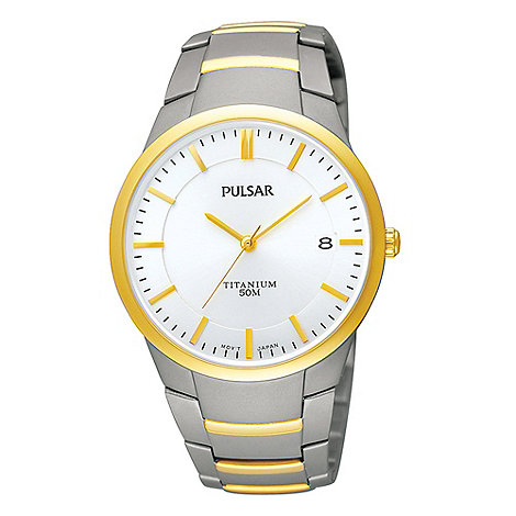 Pulsar - Men+s grey analogue dial two-tone bracelet watch