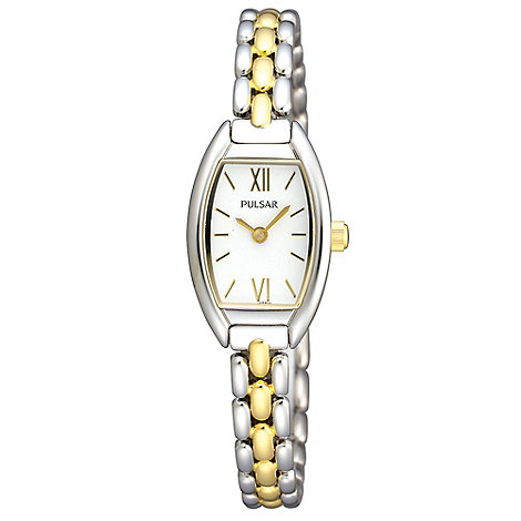 Pulsar - Ladies silver tonneau case mixed plated bracelet watch