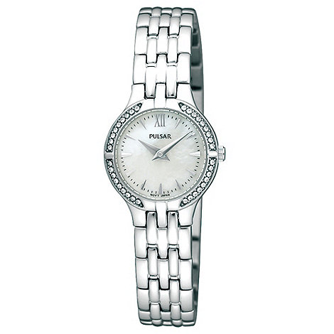 Pulsar - Ladies silver diamante bezel watch