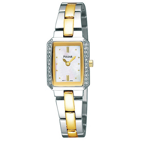 Pulsar - Ladies silver and gold gold rectangular mother of pearl dial watch