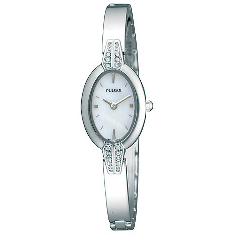 Pulsar - Ladies silver SWAROVSKI crystal bangle watch