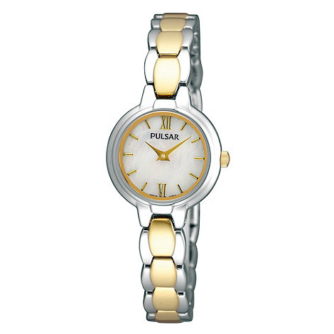 Pulsar - Ladies silver mixed link mother of pearl dial watch