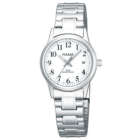 Pulsar - Ladies silver expander bracelet watch