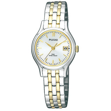 Pulsar - Ladies silver mixed link bracelet watch
