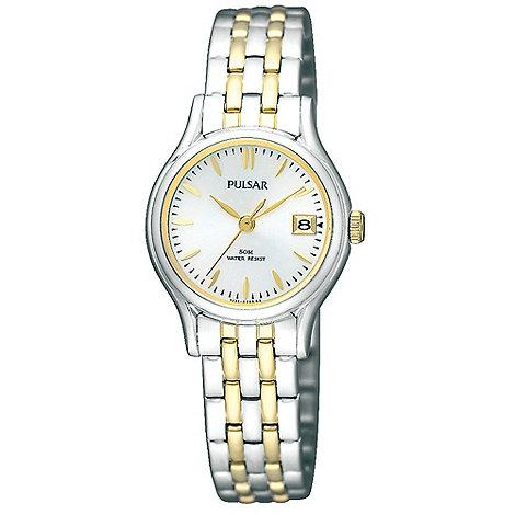 Pulsar - Ladies silver mixed link bracelet watch
