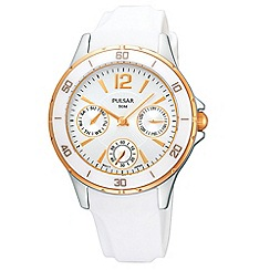 Pulsar - Ladies white mock sports bezel watch