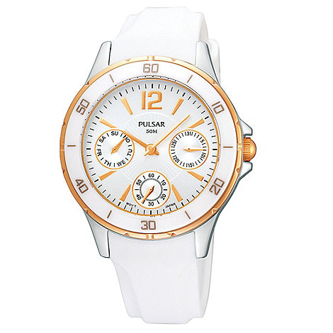 Pulsar - Ladies white mock sports bezel watch