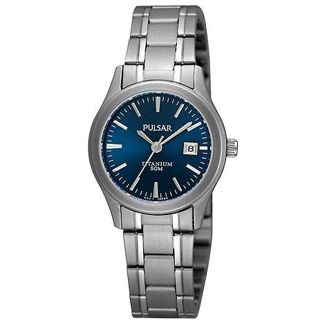 Pulsar - Ladies dark blue titanium bracelet watch
