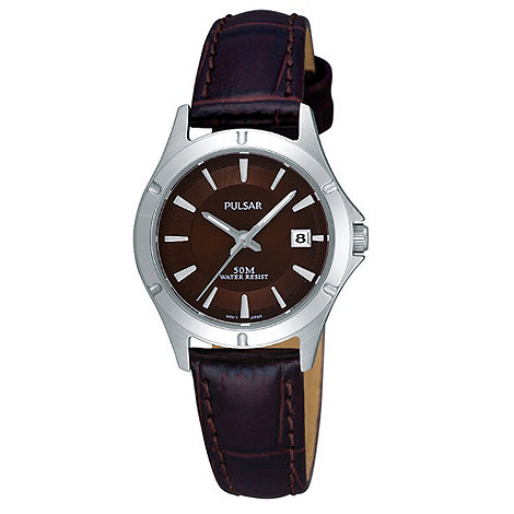 Pulsar - Ladies dark brown mock croc leather strap watch