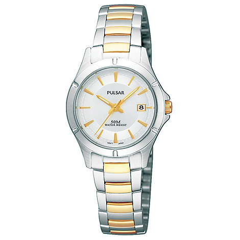 Pulsar - Ladies silver titanium mixed bracelet watch