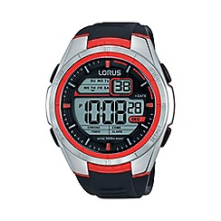 Lorus - Men's digital black/red strap watch r2313lx9
