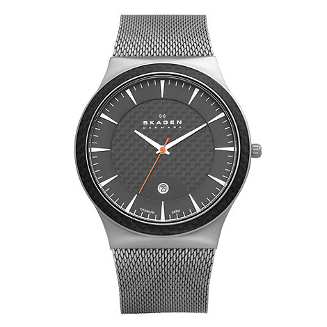 Skagen - Men+s grey and black titanium watch