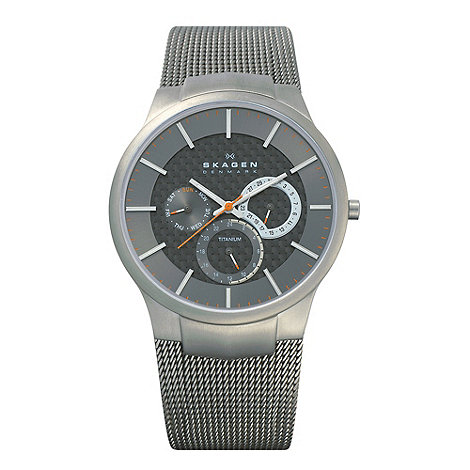 Skagen - Men+s grey multi dial mesh strap watch