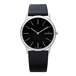 Skagen - Men's black slim analogue dial leather strap watch