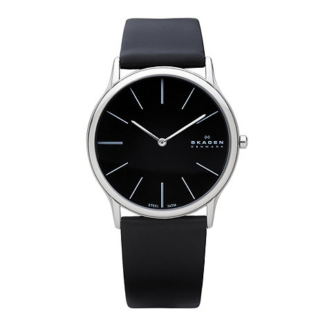 Skagen - Men+s black slim analogue dial leather strap watch